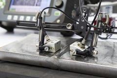 acciaio ultrasonico della saldatura di prova della sonda fotografie stock libere da diritti