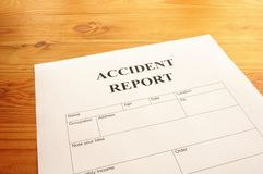 Accidebt Report Stockfoto