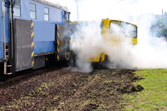 Accident. Bus crashes with train. Firefighter exercises royalty free stock images
