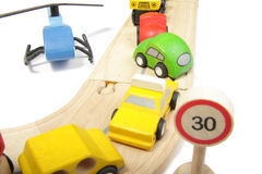 Accident. Toy cars accident on a wooden road isolated Stock Images