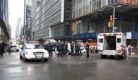 Accident. Involves police car in New york royalty free stock images