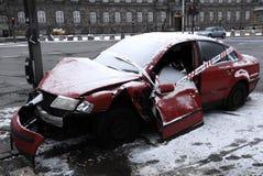 ACCIDENT ABANDONED AUTO. Copenhagen-Denamrk_Accident abandoned car and police sealed car left light singal                   03 Febuary 2015 (Photo by Francis Royalty Free Stock Image