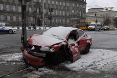 ACCIDENT ABANDONED AUTO. Copenhagen-Denamrk_Accident abandoned car and police sealed car left light singal                   03 Febuary 2015 (Photo by Francis Royalty Free Stock Photos