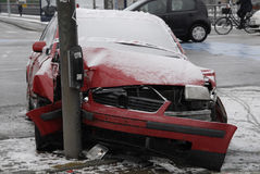 ACCIDENT ABANDONED AUTO. Copenhagen-Denamrk_Accident abandoned car and police sealed car left light singal                   03 Febuary 2015 (Photo by Francis Royalty Free Stock Images