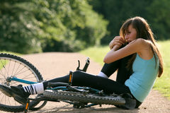 Accident on bicycle Royalty Free Stock Photography