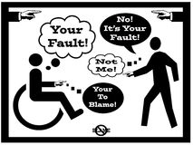 Accident Blame Fault Concept. Two people pointing at each other and shifting blame and fault concept back and forth.  One person is standing and the other person Stock Photos
