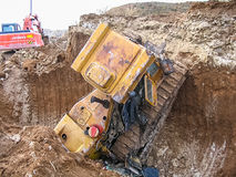 Accident with a bulldozer royalty free stock photography