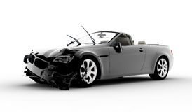 Accident car. A black car accident isolated on white background Royalty Free Stock Photo