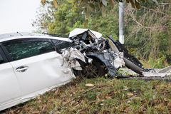 Accident car crash with tree Royalty Free Stock Photography