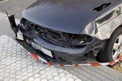 Accident car front crash. Accident black car front crash Royalty Free Stock Image