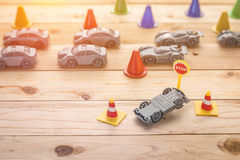 Accident car model on wooden Royalty Free Stock Photography