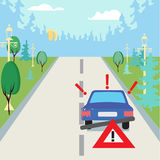 Accident car at suburbs on the road and traffic sign behind. Royalty Free Stock Photos