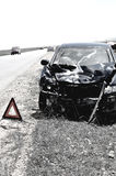 Accident car and warning triangle Stock Photography