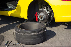 Accident car wheels. Stock Image