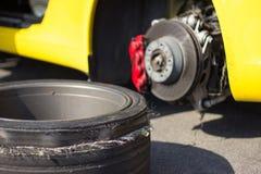Accident car wheels. Stock Photos