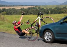Accident cars with biker. Car collides cyclist on the road. Dangerous traffic on asphalt way on the countryside. Road crash misfortune car with a cyclist royalty free stock image