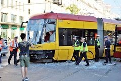 Accident city bus and tram. Stock Photography