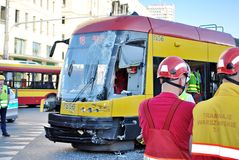 Accident city bus and tram. Royalty Free Stock Photography
