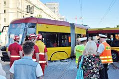 Accident city bus and tram. Royalty Free Stock Image