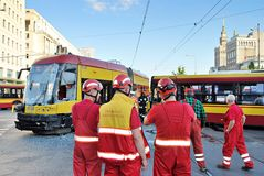 Accident city bus and tram. Stock Photo