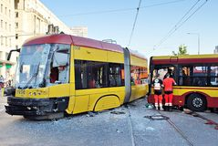 Accident city bus and tram. Royalty Free Stock Photos