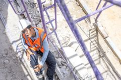 Accident in construction site concept royalty free stock photography