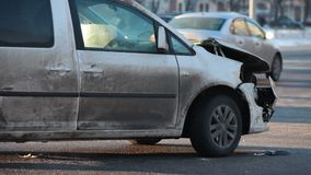 Accident at the crossroad. Accident, at the crossroad of busy traffic stock footage