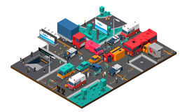 Accident On Crossroad Isometric Illustration Stock Photography