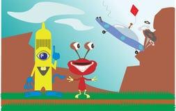 Accident d'UFO sur terre pendant l'après-midi avec l'étranger deux dans l'illustration illustration stock
