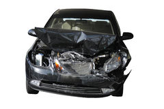Accident damaged car. With radiator, wings, head lights  and bonnet all badly distorted, white background Stock Photo