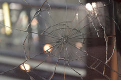Accident damaged windshield Stock Images
