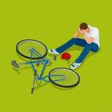 Accident de bicyclette L'homme tombe sa bicyclette Illustration isométrique du vecteur 3d plat Images libres de droits