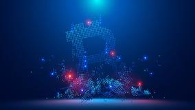 Accident de Bitcoin le bitcoin tombe au fond L'effondrement des avances de bitcoin illustration stock