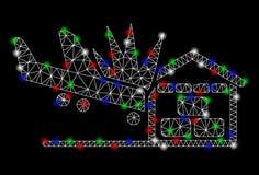 Accident de hangar d'avion de maille lumineuse 2D avec les taches instantan?es illustration stock