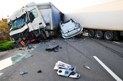 Accident de TIR images libres de droits