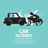Accident de voiture avec la moto. Photo stock