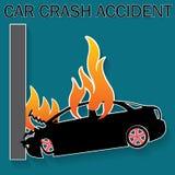 Accident de voiture brûlant Photos stock
