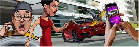 Accident de voiture d'abstraction sur le blâme de route le téléphone Photo stock