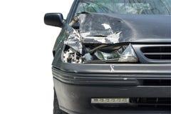 Accident de voiture d'isolement sur le fond blanc Photos stock