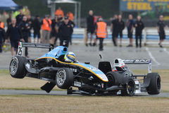 Accident de voiture de course Images libres de droits
