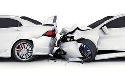 Accident de voiture de deux blancs Image libre de droits