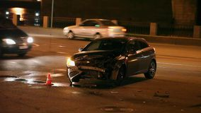 Accident de voiture la nuit Photos libres de droits