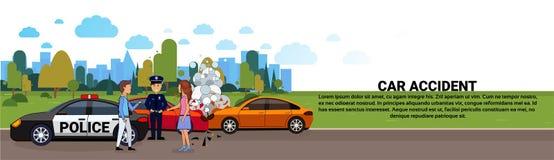 Accident de voiture ou accident, collision sur la route avec la bannière horizontale d'And Police Officer de conducteur masculin  illustration libre de droits