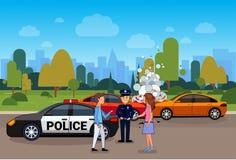 Accident de voiture ou accident, collision sur la route avec le conducteur masculin et féminin And Police Officer illustration stock