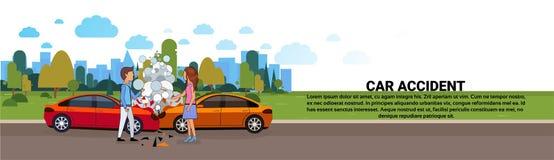 Accident de voiture sur la collision de véhicule routier avec le conducteur masculin et féminin Horizontal Banner Illustration Stock