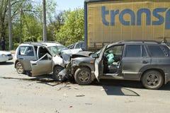 Accident de voitures images libres de droits