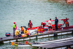 Accident at Dragon Boat Race Royalty Free Stock Photos