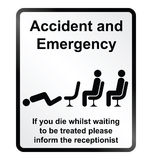Accident and Emergency Information Sign Stock Photos