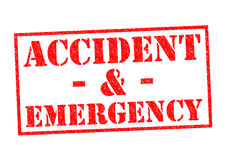 ACCIDENT & EMERGENCY. ACCIDENT & EMERGENCY red Rubber Stamp over a white background Royalty Free Stock Images