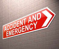 Accident and Emergency sign. Royalty Free Stock Photo